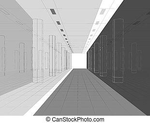 Interior in lines