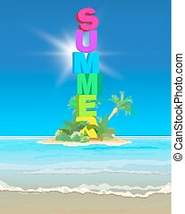 beautiful sea background - Seasonal romantic summer poster...