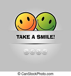 Take a smile. Funny greeting card in Vector Format