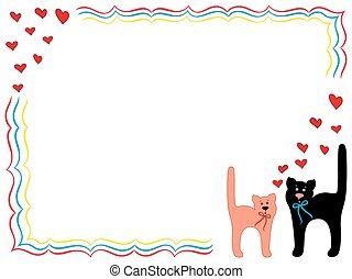 Cat and Kitty with hearts - Black Cat and Pink Kitty in...
