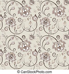 Floral seamless pattern in beige color scheme for textile or...