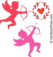 Cupids take aim isolated on white, vector illustration
