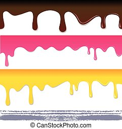 Colored seamless drips background, vector illustration
