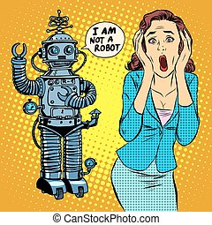 Science fiction horror robot woman panic pop art retro...