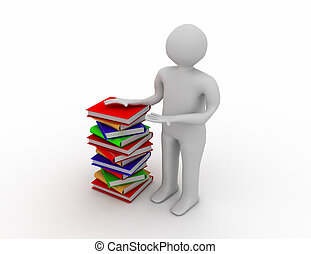 student with bale books