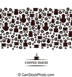 Coffee house horizontal background - Vector illustrations of...