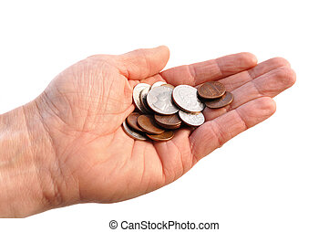 Cupped Hand Holding American Coins