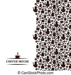 Coffee house vertical background - Vector illustrations of...