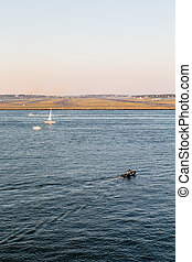 Many Boats by Boston Airport - Boats on the harbor by the...