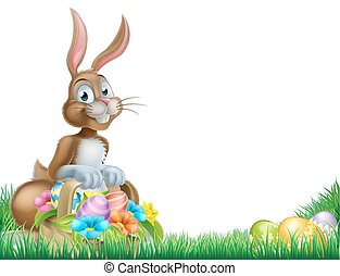 Cartoon Easter Egg Basket Hunt Bunny - Easter bunny with a...
