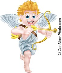 Cupid Cartoon Angel - Cartoon valentines day cupid character...