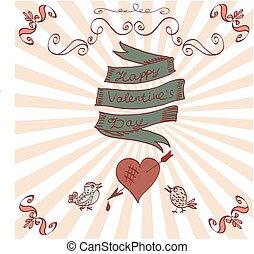 Hand drawn vintage Valentine's card