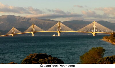Rio Antirio Bridge at sunset - View of the bridge...