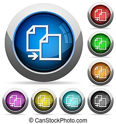 Copy button set - Set of round glossy copy buttons. Arranged...