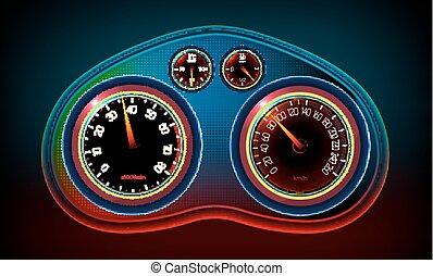 Car Dashboard editable - Vector editable illustration of a...