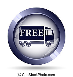 Free delivery truck icon Internet button on white background...