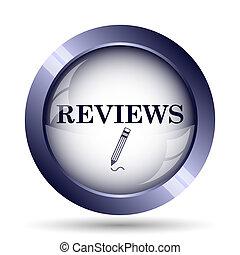 Reviews icon. Internet button on white background.
