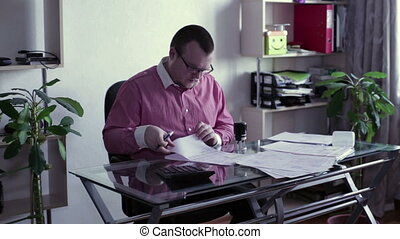 Director signs documents and put a stamp - Man sitting...