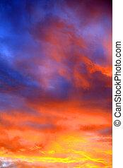 sunset sky at summer evening