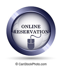 Online reservation icon Internet button on white background...