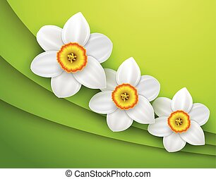 Green Background with spring flower