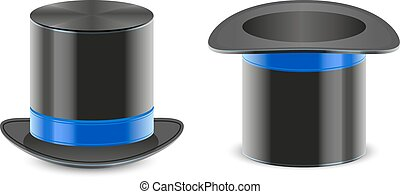 Set black hat magician cylinder Isolated on white vector...