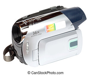 minidv video camera camcorder on white background