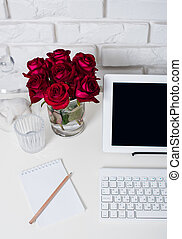 Young business woman workspace, white feminine office...