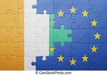 puzzle with the national flag of cote divoire and european...