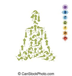 Yoga lotus pose made from asanas for your design. Vector...