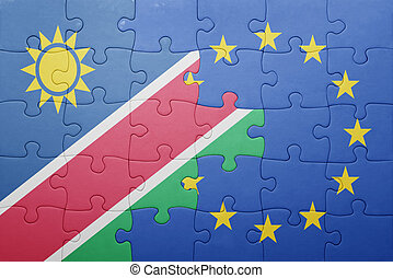 puzzle with the national flag of namibia and european union...