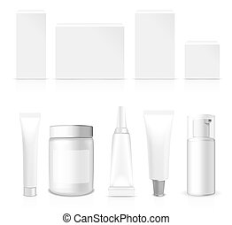 Realistic vector Tubes, Jar And Package. - Realistic Tubes,...
