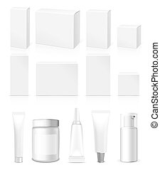 Realistic vector Tubes, Jar And Package - Realistic Tubes,...