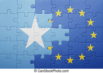 puzzle with the national flag of somalia and european union...
