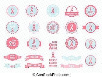 Vector badges collection Design elements Breast cancer...