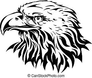 silhouette of eagle head - vector illustration of silhouette...
