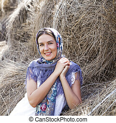 Beautiful Russian Girl - Portrait of young happy woman in...