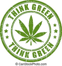Think green cannabis stamp - Cannabis rubber stamp, think...