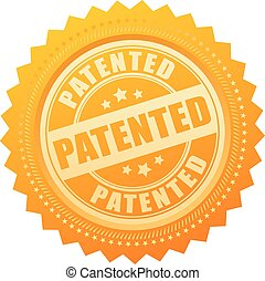 Patented gold seal isolated on white background