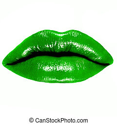 close-up of beautiful green woman lips - close-up of...