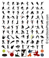 100 silhouettes of sportsmen and stock. A vector illustration