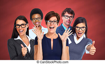 Group of business people wearing eyeglasses Eye health care...