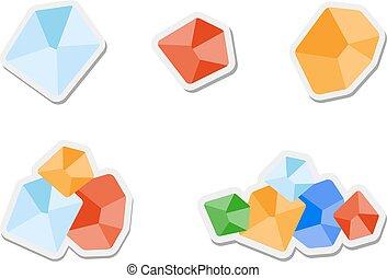 gem - Set of flat colored gemstones