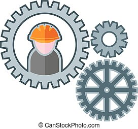 mechanism - gears with the figure of the worker