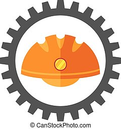 mechanism - gear with flat image of the helmet hard