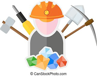 miner - flat image of miner with tools