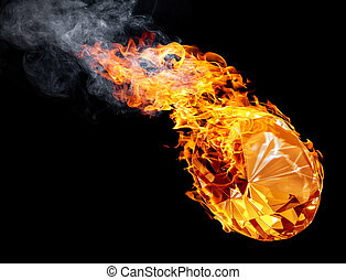 hot diamond - burning diamond with flames and smoke in black...