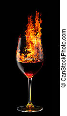 glass of burning red wine