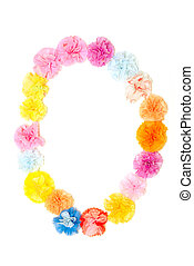 """""""0"""" Number alphabet flowers made from paper craftwork -..."""
