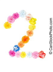 """""""2"""" Number alphabet flowers made from paper craftwork -..."""